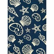 Outdoor Escape 2and039w X 4and039l Hand-hooked Cardita Shells Area Rug In Navy/ivory