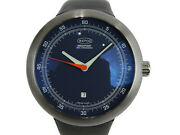 Ikepod Megapode Date Navy Blue Rubber Band Auto 45mm Design By Marc Newson