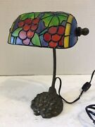 Pre-owned/usedsmall Style Table Lamp W/grapestested And Works