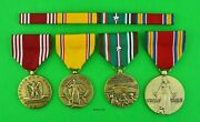 4 Wwii Army Medals And Ribbon Bar Good Conduct American Defense European Victory