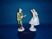 Herend Man Singing With Guitar For Woman Figurine Pair Porcelain