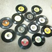 100 45 Rpm Lot Vinyl 7 Records For Arts Crafts, Party Decorations Coasters Used