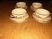 4 Franciscan Cups And 4 Saucers, Cafe Royal Pattern