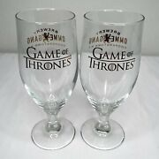 """Game Of Thrones - 2 Beer 7"""" Goblet Glass Cooperstown Ny Ommegang Brewery Ny Nice"""