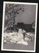 Vintage Antique Photograph Cute Little Baby Sitting By Christmas Tree With Toys