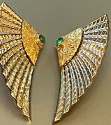 Best Erté´nile Earrings Book Piece 14k Sterling Silver Emeralds Limited Edition