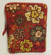 Bella Taylor Bugundy Floral Quilted Tablet Ipad Case Cover Zip Up Pouch