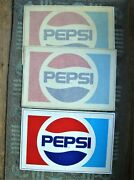 3 Vintage Nos Large 17 Pepsi Cola Red White And Blue Window Store Cooler Decals