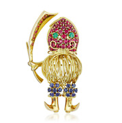 14k Yellow Gold Ruby Sapphire And Emerald Pirate Brooch / Pin