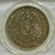 1876 Germany-wurttemberg 5 Mark Silver Coin Crown Anacs Ef40 Nice Specimen