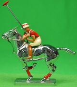 Lejeune Chrome Polo Pony And Player W/ Red Stripe Jersey Colour Car Mascot