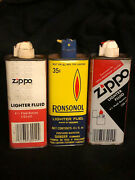 Vintage Lot Of 3 Zippo And Ronsonol Lighter Fluid Cans