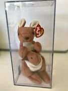 Rare Beanie Baby Pouch Kangaroo Authenticated Rare Tag Museum Quality Mwmt