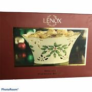 Lenox Christmas Pierced Basket Porcelain Holly Branch Piercing And Painting 4x6x8andrdquo
