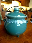 Mccoy Pottery Usa Green Drip Glaze Footed Covered Bean Pot Cauldron Wire Handle