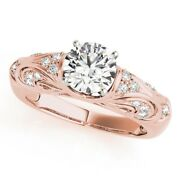 Solid 14k Rose Gold Solitaire Ring 0.70 Ct Real Round Diamond Band Size 5 6 7 8