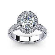 Oval 1.02 Ct Real Diamond Engagement Ring 18k Solid White Gold Band Size 5 6 7 8