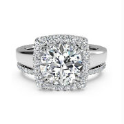 Round Halo 0.80 Ct Real Diamond Solid 14k White Gold Engagement Band Set 5 6 7 8