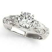 Solid 14k White Gold Solitaire Ring 0.70 Ct Real Round Diamond Band Size 5 6 7 8