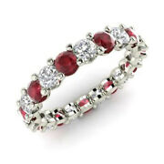 Solid 14k White Gold Band 2.03 Ct Natural Diamond Ruby Gemstone Ring Size 6 7 8