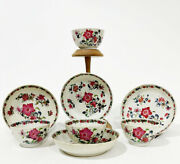 18th Century Small Chinese Porcelain Fencai Cups And Saucers