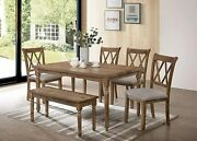 6pc Transitional Dining Set Table Bench And 4 Side Chairs Antique Natural Oak Fins