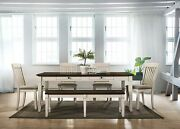 6pc Brushed Cream Transitional Dining Room Furniture Set Table Bench And 4 Chairs