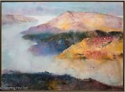 Z.l. Feng Original Watercolor Chinese River Valley Landscape Painting Rare Fine
