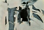 Samuel Bak 1933- Early Original Collage On Paper Abstract Signed 1962