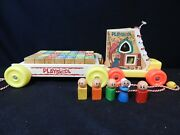 Vintage Playskool Wooden Pull Toy Lot Wagon W/ Blocks And Old Women In Shoe