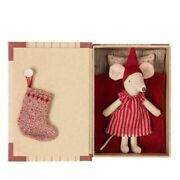 Maileg Big Sister Christmas Mouse In Book With Stocking - Rare Discontinued