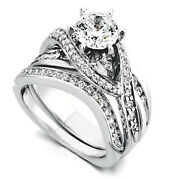 1.40 Ct Real Diamond Wedding Band Ring Set Solid 14k White Gold Size 5 7 8 9