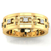 Real 0.23 Ct Diamond Menand039s Ring Solid 14k Yellow Gold Band Size 5 6 7 8