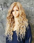 Long Wavy Heat Safe Lace Front/top Human Hair Blend Wig Light Blonde Ombre Evff