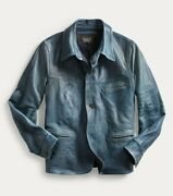 Rrl Indigo 1930and039s Car Coat Leather Jacket Wool Lined Menand039s L Large