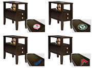 End Table Or Nightstand With Drawer Espresso Finish With Mlb Team Logo Decal