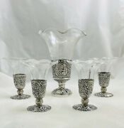 Antique Set Of Five German Reticulated Silver And Etched Glass Vases