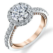1.30 Ct Real Diamond Engagement Ring Solid 14k Double Tone Gold Band Size 5 6 7