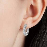 1.00 Ct Natural Diamond Hoop Girl Earring Solid 14k White Gold Womenand039s Stud
