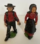 Vintage Cast Iron Amish Couple Nice Patina, Very Good Condition.