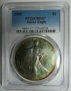 1995 Beautifully Rainbow Toned American Silver Eagle Pcgs Ms67