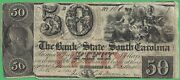 1860 Bank Of The State Of South Carolina Sc 50 No. 160 Hammer Cancelled