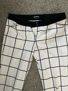 Express Editor Womens Black And White Checked Dress Pants Size 10 Long