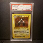 Psa 8 Nm Mt 1st Edition Shadowless Holo Magneton 3d Thick Stamp 1999 Base 9/102