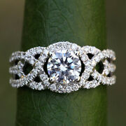 Solid 950 Platinum Real 0.55 Ct Diamond Engagement Womenand039s Semi Mount Ring 5 6 7