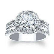 Round Real 0.88 Ct Diamond Engagement Semi Mount Band Solid 950 Platinum Size 6