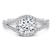 0.84 Ct Real Diamond Engagement Ring Solid 950 Platinum Semi Mount Band Size 6 7