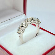 Round 1.00 Ct Real Diamond Ring 14k Solid White Gold Engagement Band Size 5 6 8