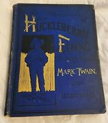 Adventures Of Huckleberry Finn 1885 Hard Cover In Blue Cloth Rare Vintage