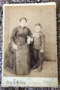 Vintage Cabinet Card Mother And Young Son Names On Back Princeton Indiana